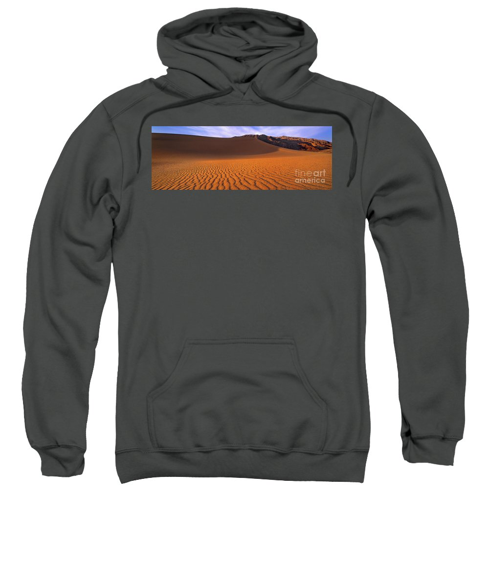 David Welling Sweatshirt featuring the photograph Panoramic Mesquite Sand Dune Patterns Death Valley National Park by Dave Welling