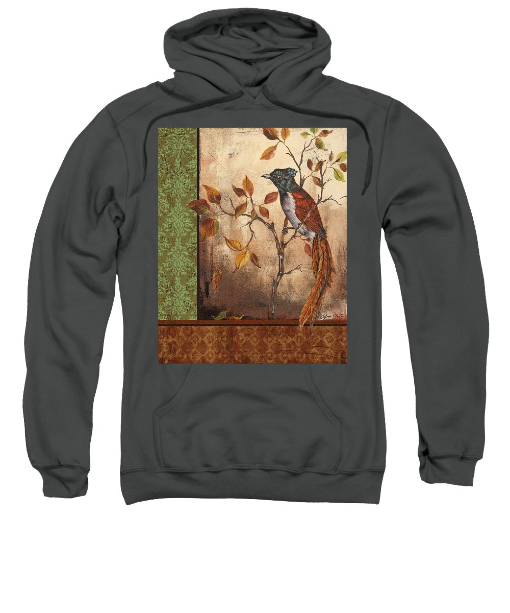 Acrylic Painting Sweatshirt featuring the painting Paradise Flycatcher by Jean Plout