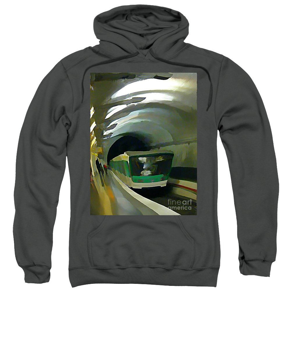 Subway Sweatshirt featuring the painting Paris Train In Fisheye Perspective by John Malone