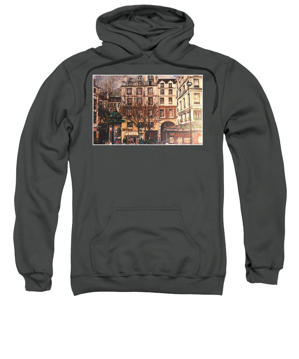 Paris Sweatshirt featuring the painting Paris by Walter Casaravilla