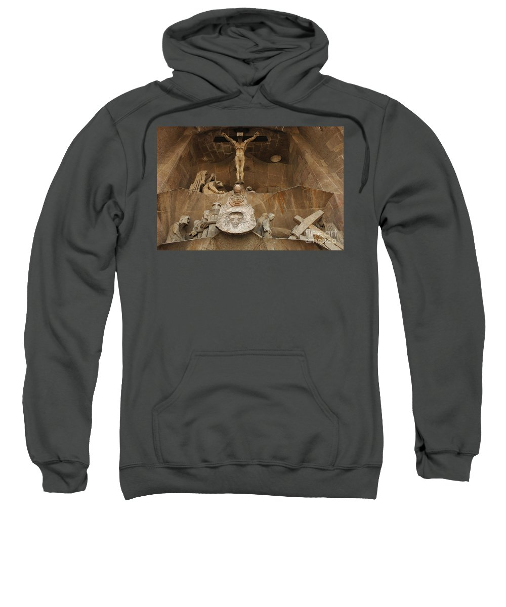 Passion Facade Sweatshirt featuring the photograph Passion Facade Barcelona by Bob Christopher