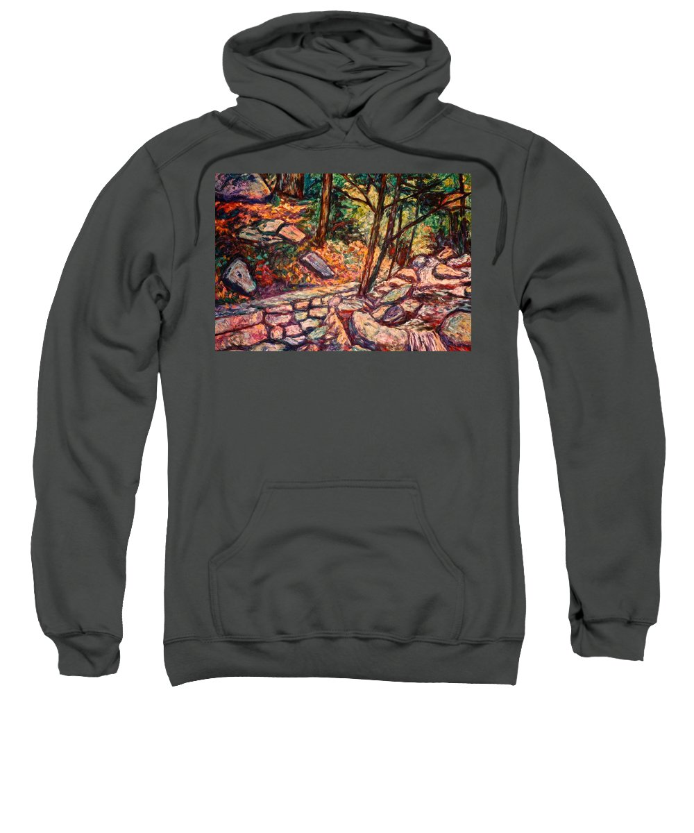 Landscape Sweatshirt featuring the painting Path To The Cascades by Kendall Kessler