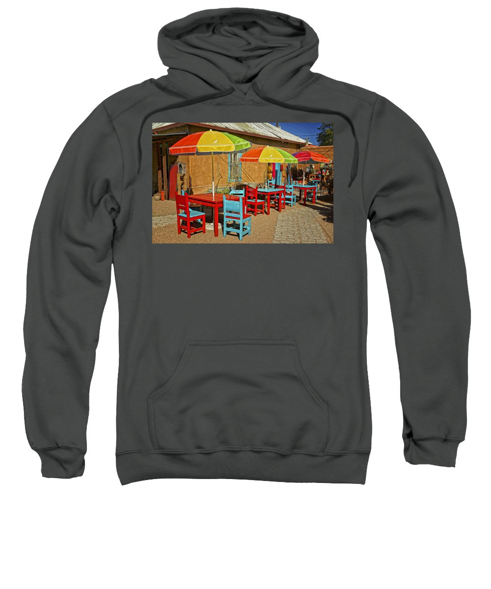 Patio Sweatshirt featuring the photograph Patio Old Town Albuquerque New Mexico Dsc08203 by Greg Kluempers