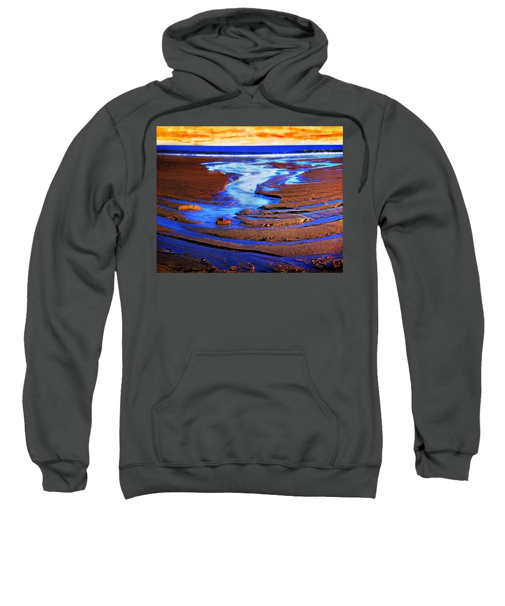 Sea Sweatshirt featuring the photograph Patterns In The Sand by Hal Halli