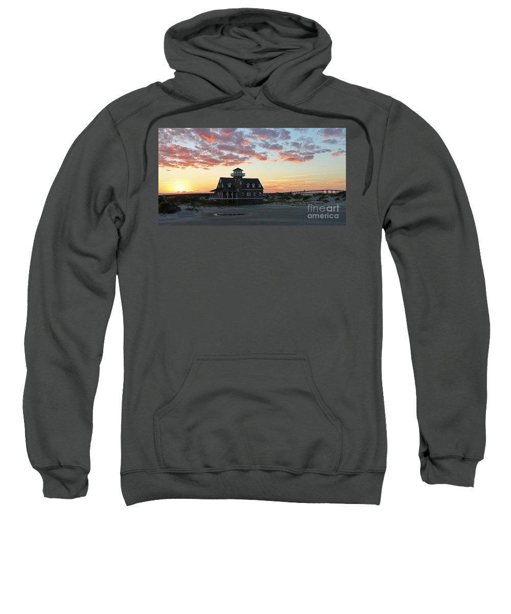 Pea Island Sweatshirt featuring the photograph Oregon Inlet Life Saving Station 2693 by Jack Schultz