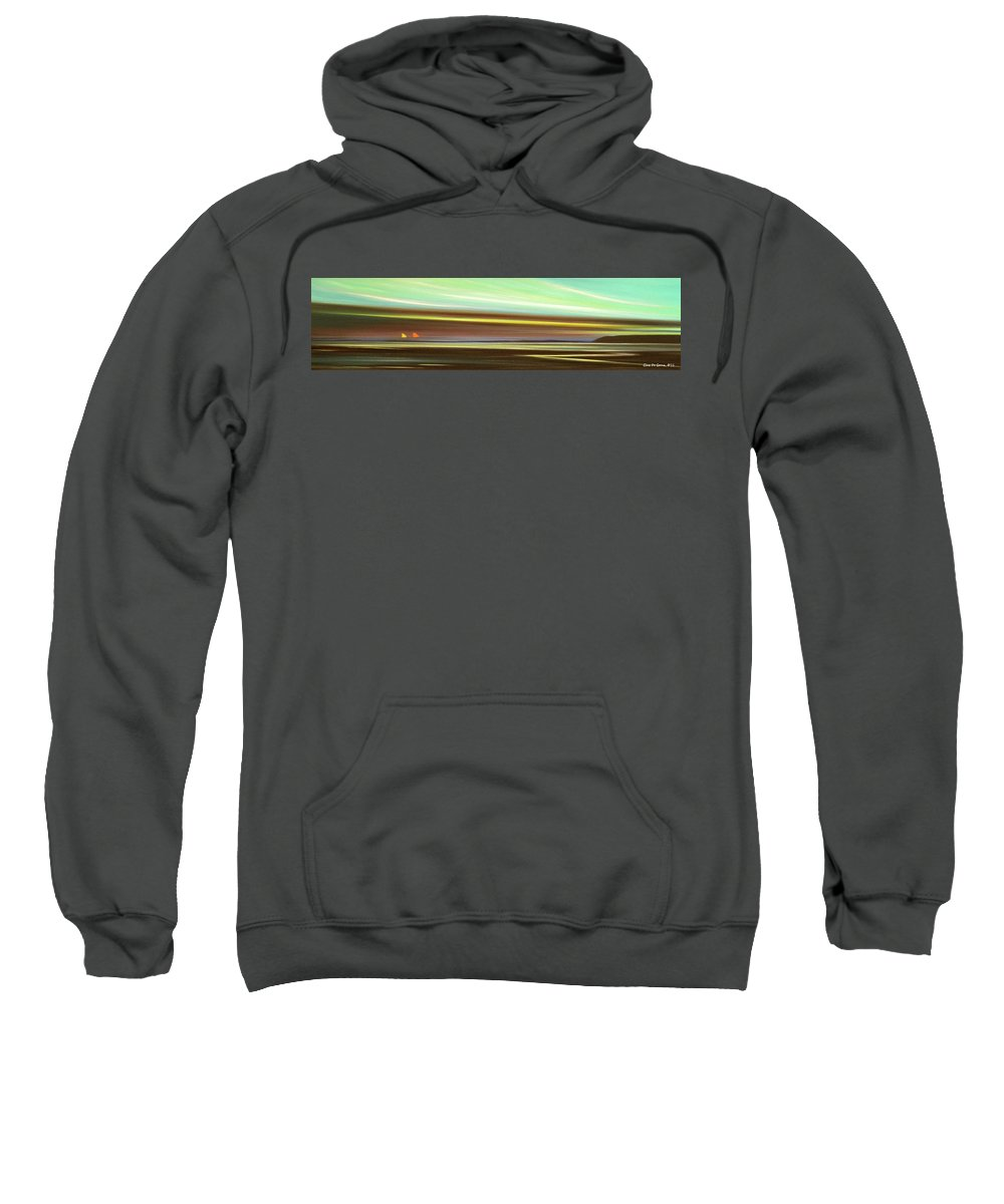 Art Sunset Sweatshirt featuring the painting Peace Is Colorful - Panoramic View by Gina De Gorna