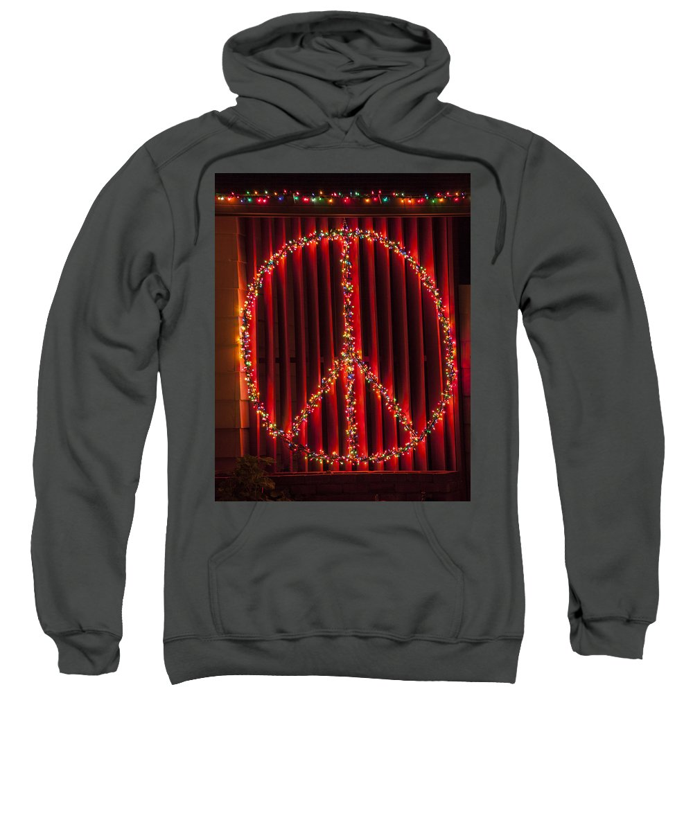 Peace Sign Sweatshirt featuring the photograph Peace Sign Christmas Lights by Garry Gay