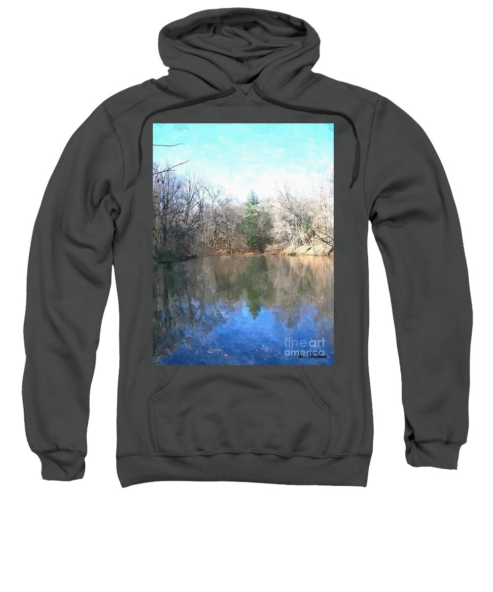 Pond Sweatshirt featuring the painting Peaceful Retreat 2 by Sara Raber