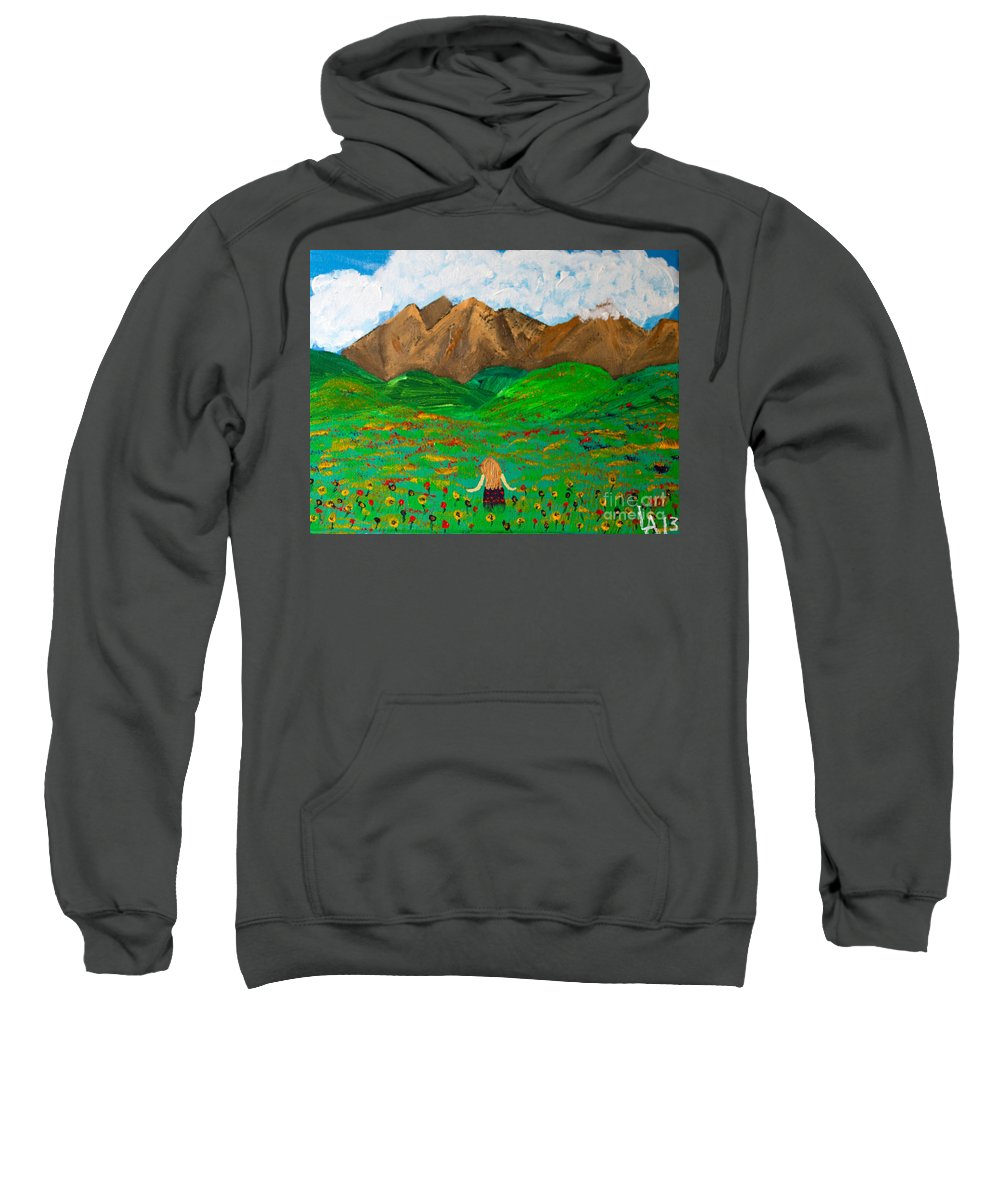 Girl Sweatshirt featuring the painting Peaceful Walk by Lloyd Alexander