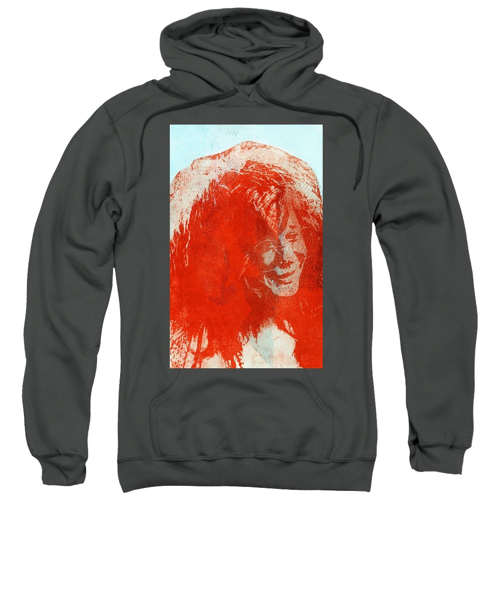 Janis Joplin Sweatshirt featuring the mixed media Pearl Of A Girl by Molly Picklesimer