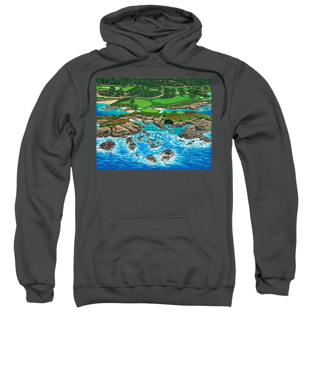 Ocean Sweatshirt featuring the painting Pebble Beach 15th Hole-north by Jane Girardot