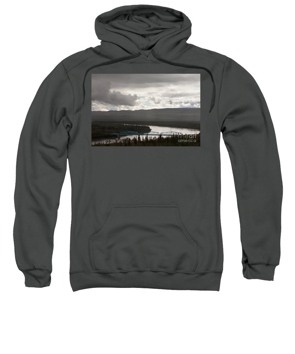 Blue Sweatshirt featuring the photograph Pelly Crossing River Bridge Yukon Territory Canada by Stephan Pietzko