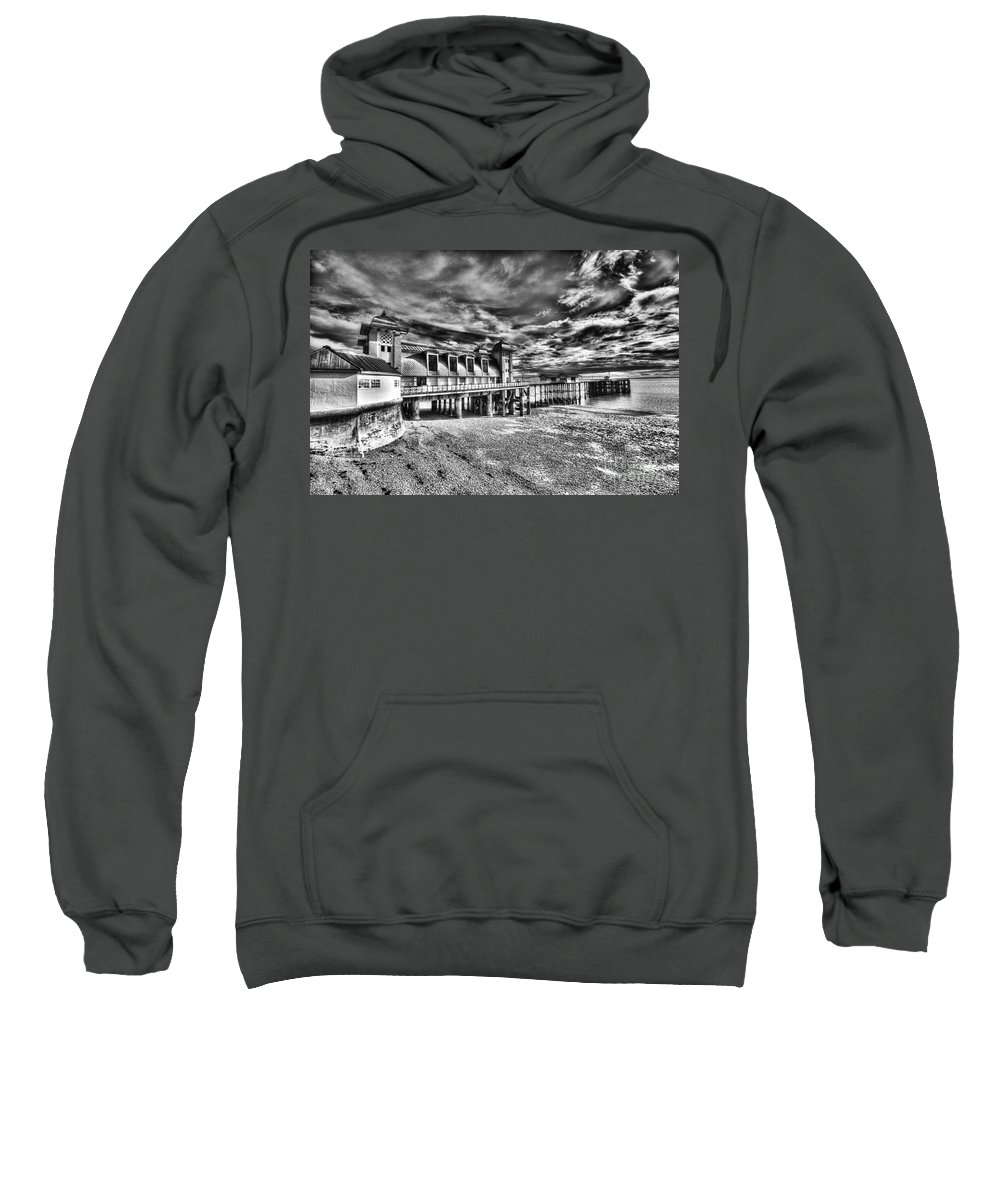 Penarth Pier Sweatshirt featuring the photograph Penarth Pier 6 Monochrome by Steve Purnell