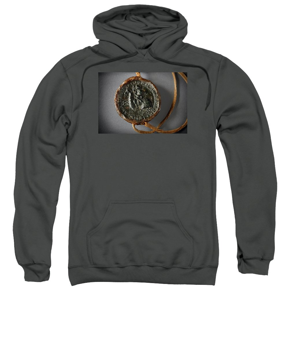 Pendent Wax Seal Sweatshirt featuring the photograph Pendent Wax Seal Of The Council Of Calahorra by RicardMN Photography