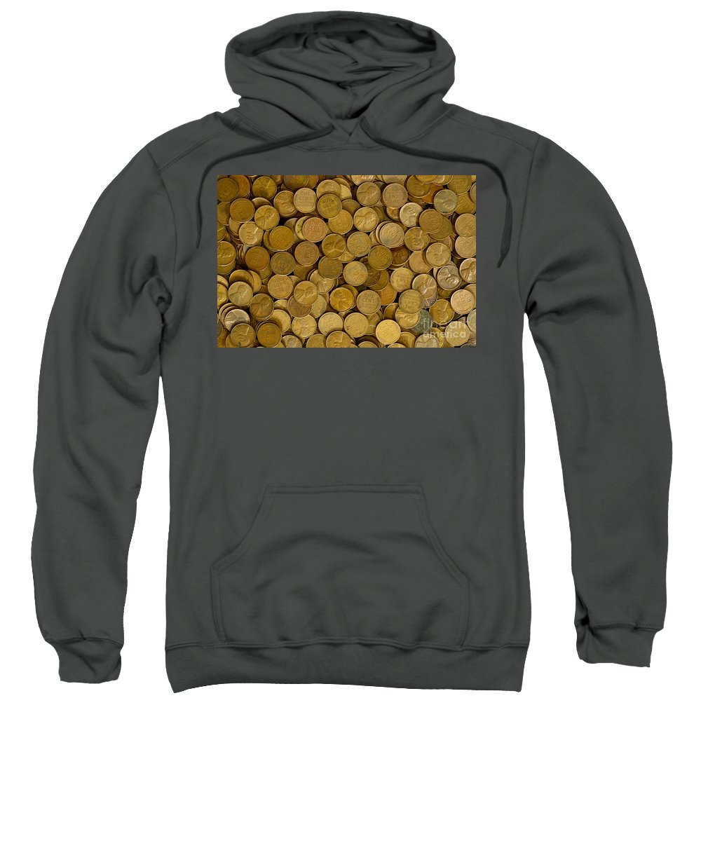 Penny Sweatshirt featuring the photograph Pennies - 3 by Paul W Faust - Impressions of Light
