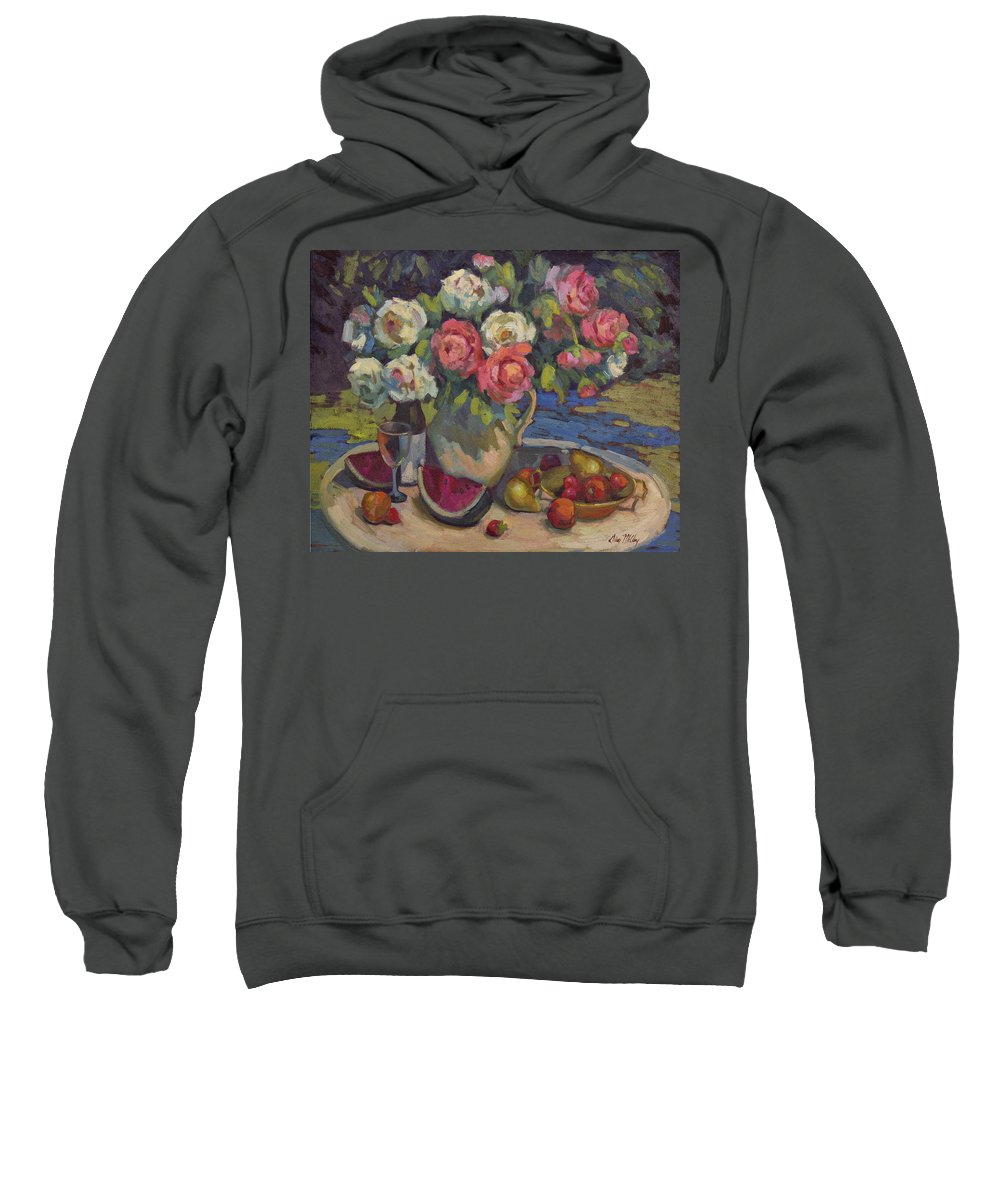 Still Life Sweatshirt featuring the painting Peonies And Summer Fruit by Diane McClary