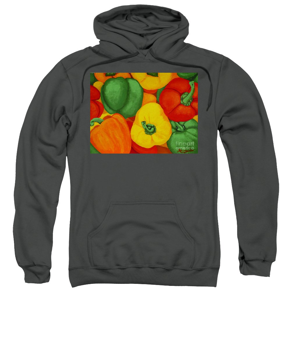 Peppers Sweatshirt featuring the painting Peppers by Anthony Dunphy