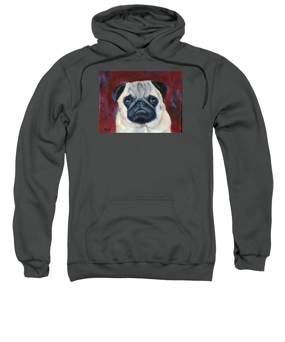 Dog Portraits Sweatshirt featuring the painting Perfectly Pug by Deborah Butts