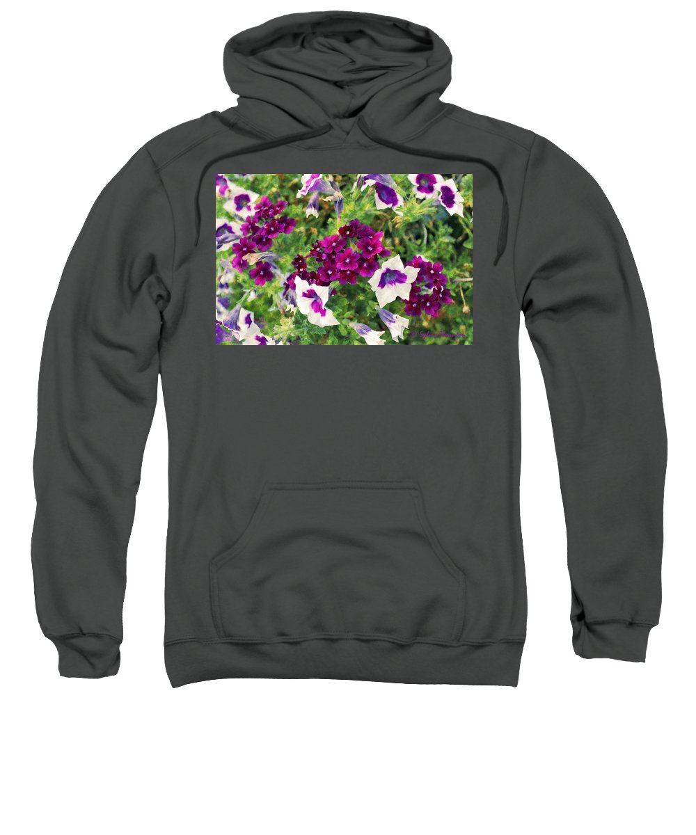 Petunia Sweatshirt featuring the photograph Petunias And Verbena IIi by Sylvia Thornton