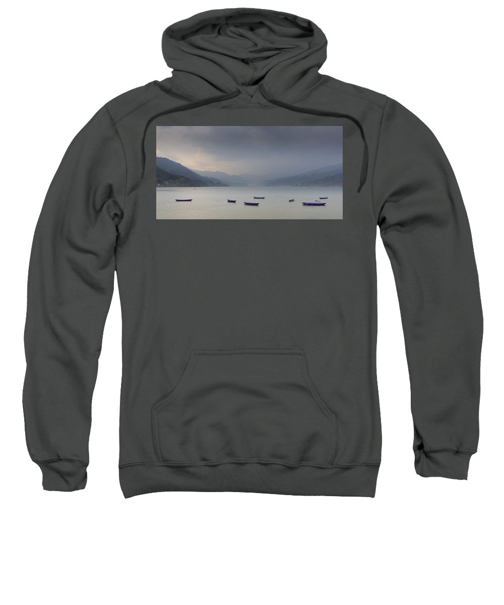Nepal Sweatshirt featuring the photograph Phewa Lake In Pokhara by Dutourdumonde Photography