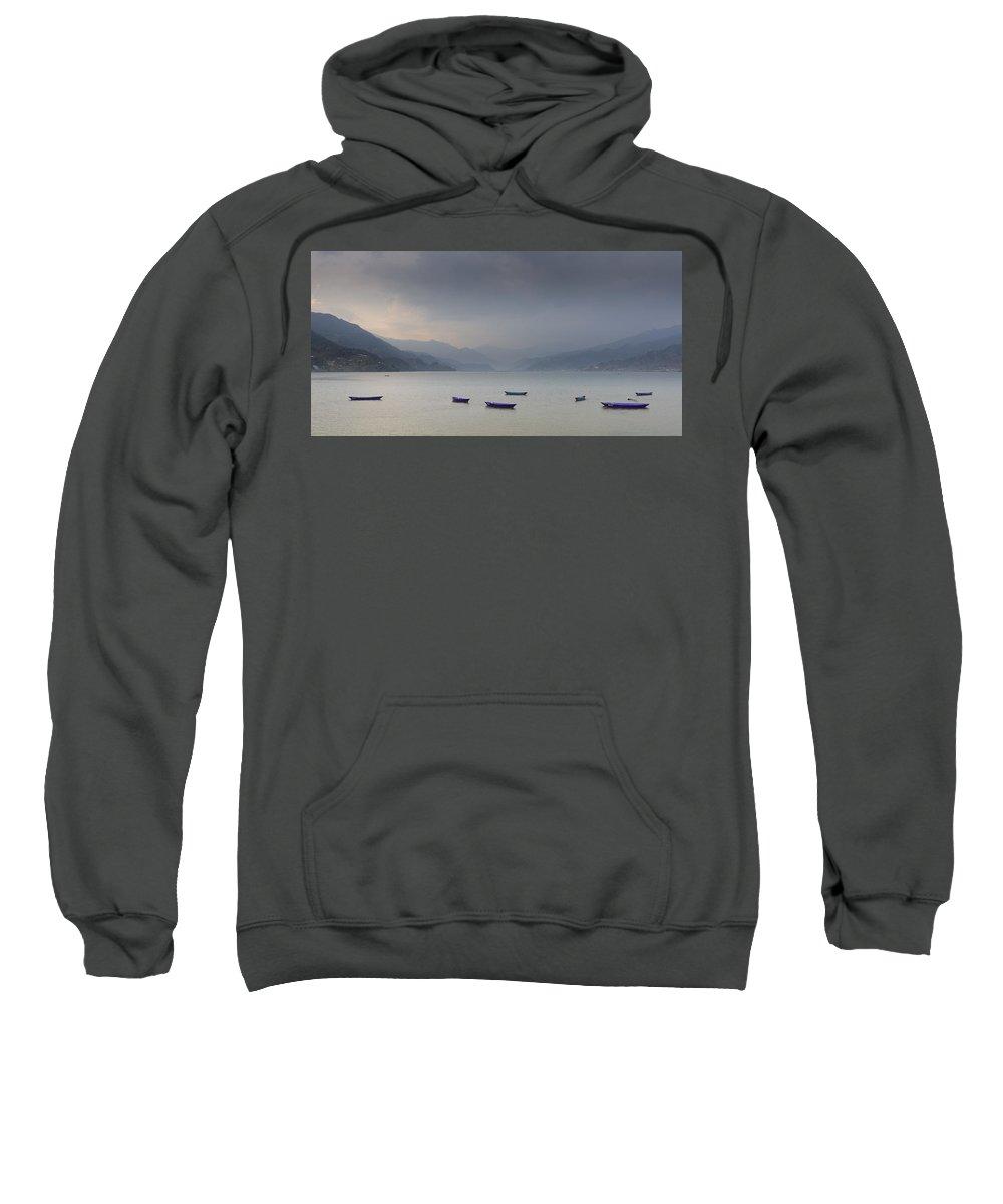 Nepal Sweatshirt featuring the photograph Phewa Lake In Pokhara by Dutourdumonde Photography