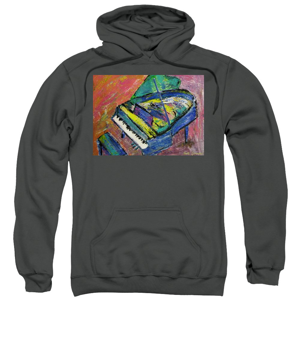 Piano Sweatshirt featuring the painting Piano Blue by Anita Burgermeister