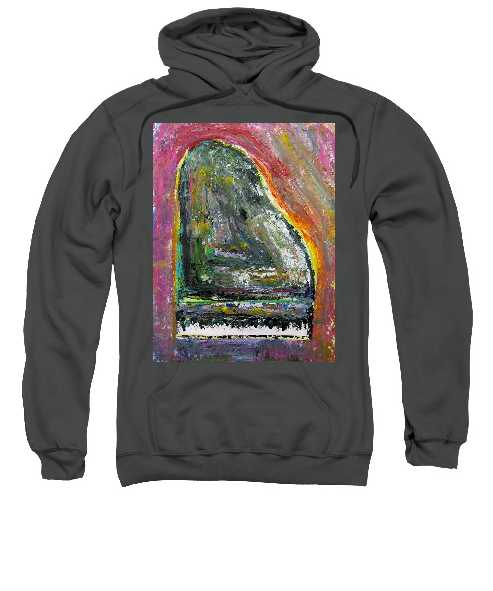 Impressionist Sweatshirt featuring the painting Piano Red by Anita Burgermeister