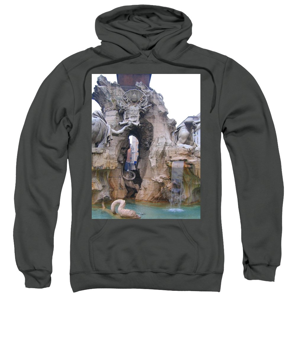 Fourntain Sweatshirt featuring the photograph Piazza Navonna by Candee Lucas