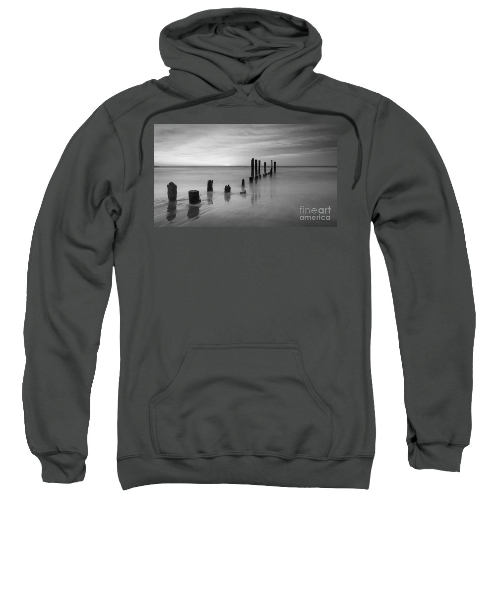 Milky Way Mike Sweatshirt featuring the photograph Pier Into The Past Bw 16x9 by Michael Ver Sprill