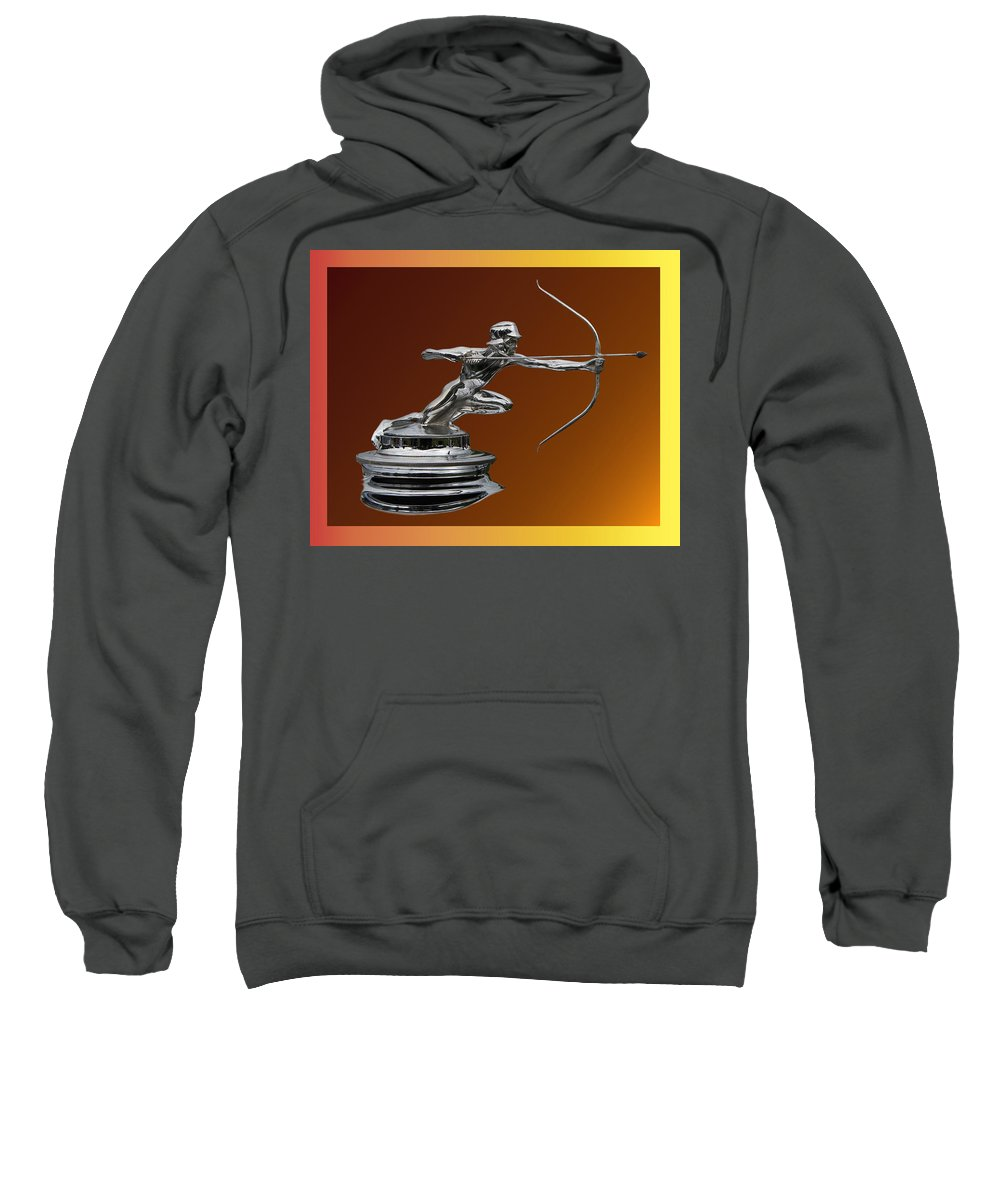 Chrome Mascots Sweatshirt featuring the photograph Pierce Arrow Hunter Mascot by Jack Pumphrey