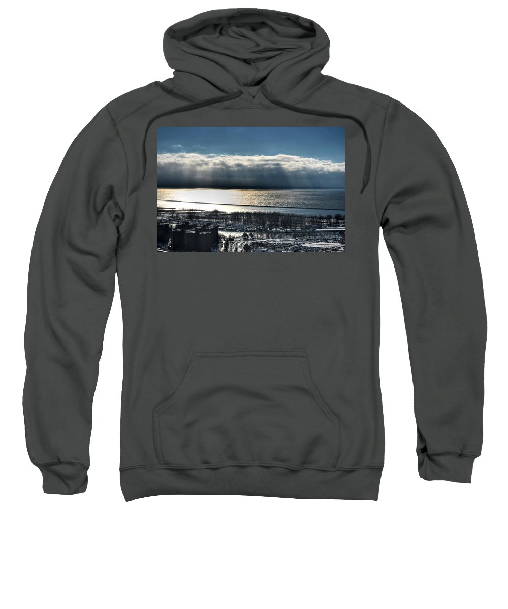 Winter Sweatshirt featuring the photograph Piercing Cold Rays Upon The Waters Winter 2013 by Michael Frank Jr