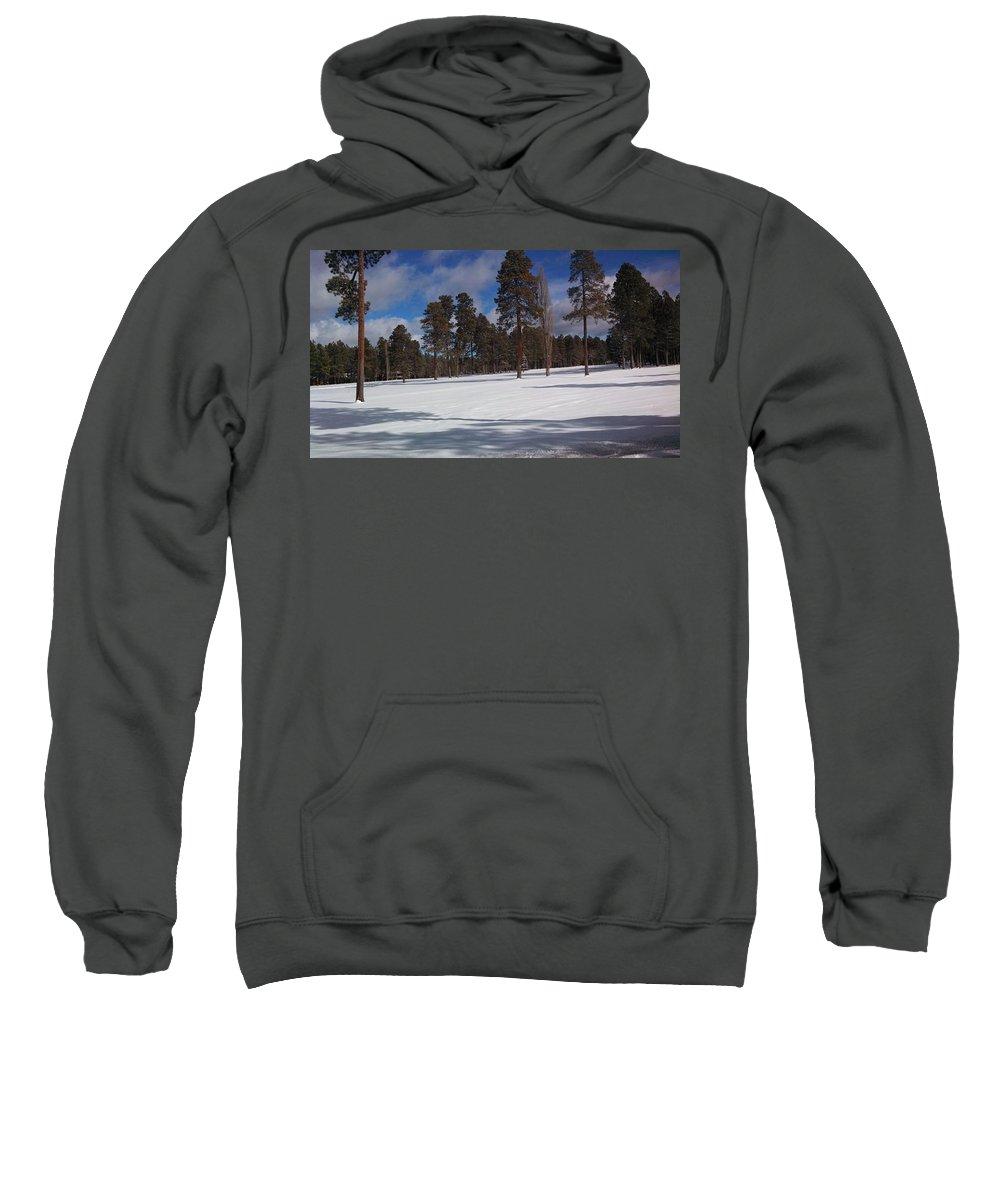 Pinetop Sweatshirt featuring the photograph Pinetop Snowfall by Stan Scott