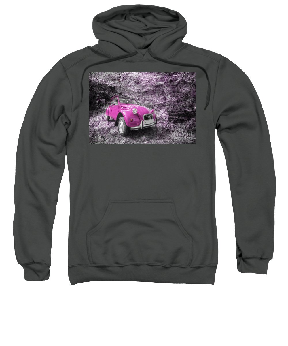 Citroen Sweatshirt featuring the photograph Pink 2cv by Rob Hawkins