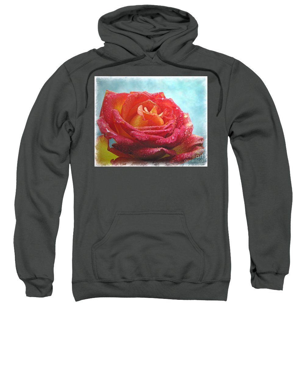 Dew Sweatshirt featuring the photograph Pink And Yellow Rose With Dew II by Debbie Portwood