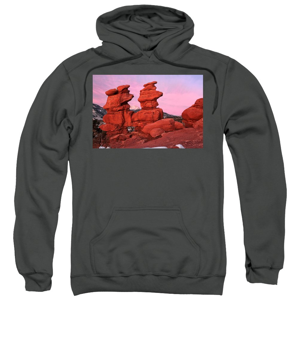 Garden Of The Gods Sweatshirt featuring the photograph Pink Morning by Ronda Kimbrow