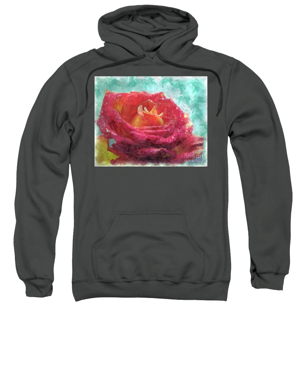 Dew Sweatshirt featuring the photograph Pink Rose - Digital Paint II by Debbie Portwood