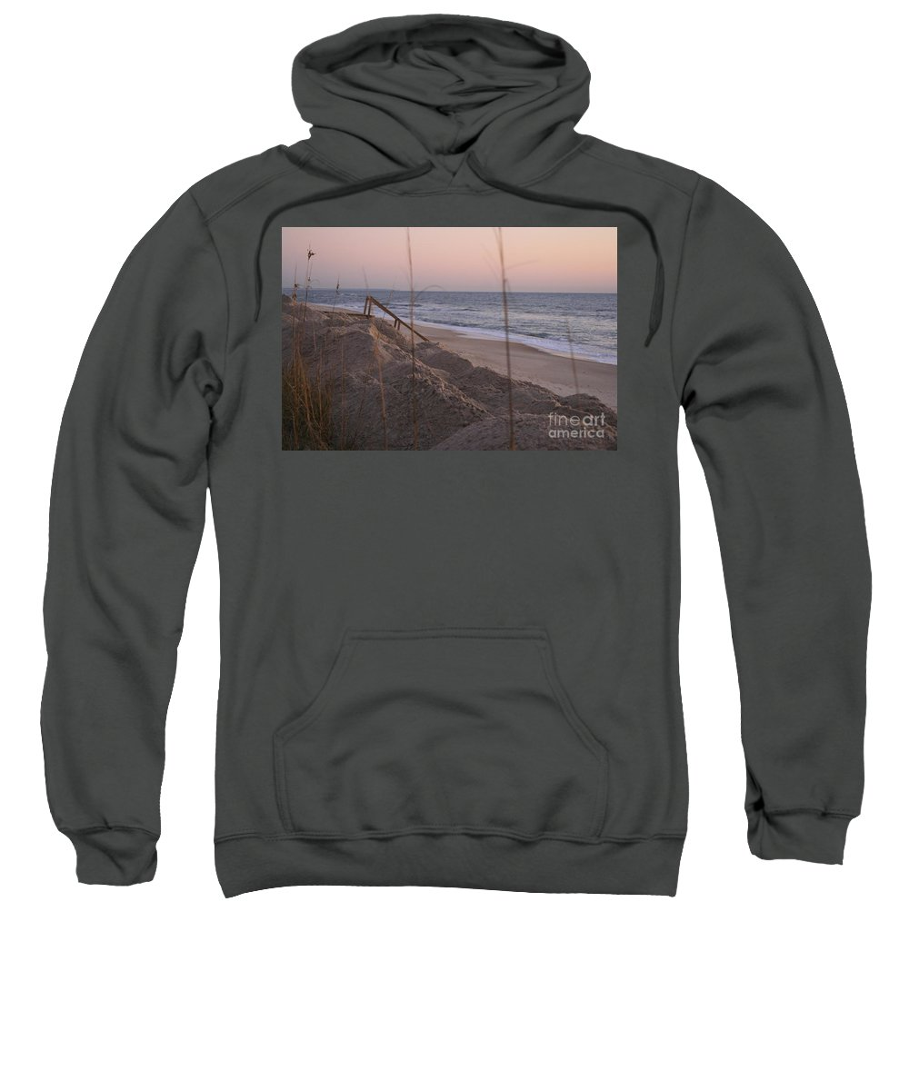 Pink Sweatshirt featuring the photograph Pink Sunrise On The Beach by Nadine Rippelmeyer