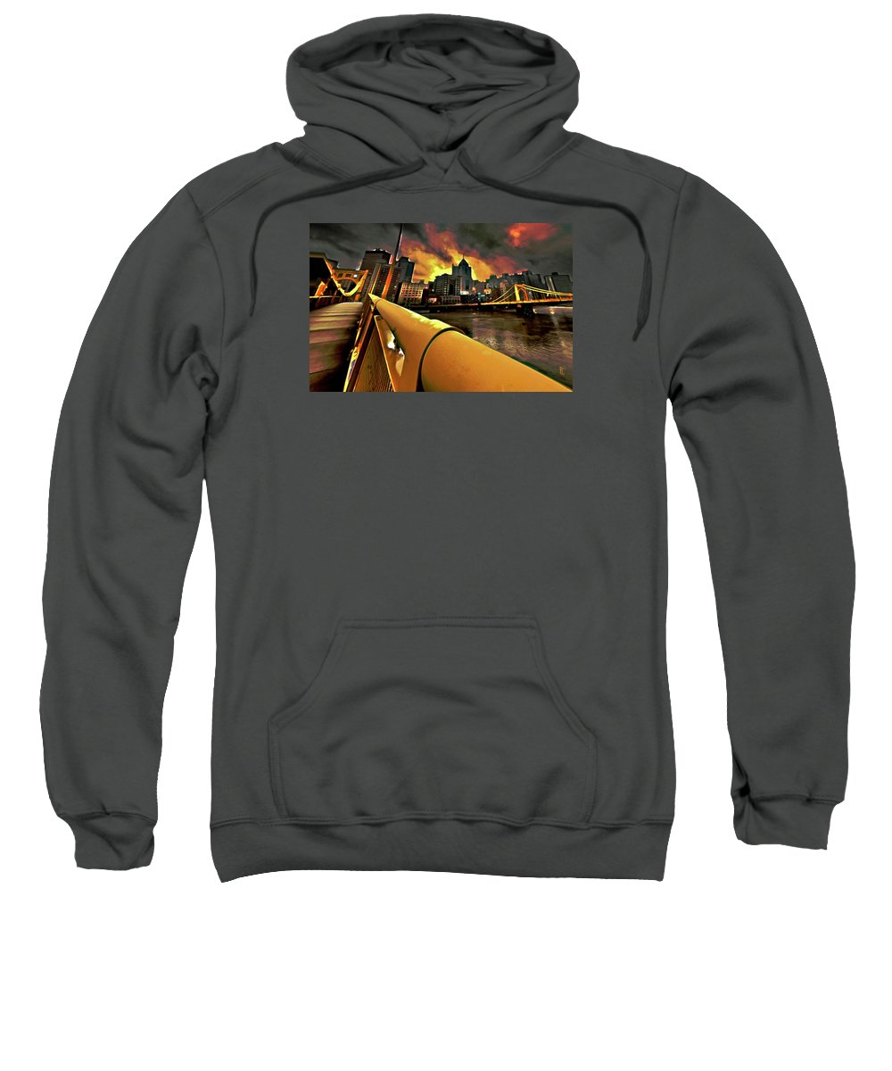 Pittsburgh Skyline Sweatshirt featuring the painting Pittsburgh Skyline by Fli Art