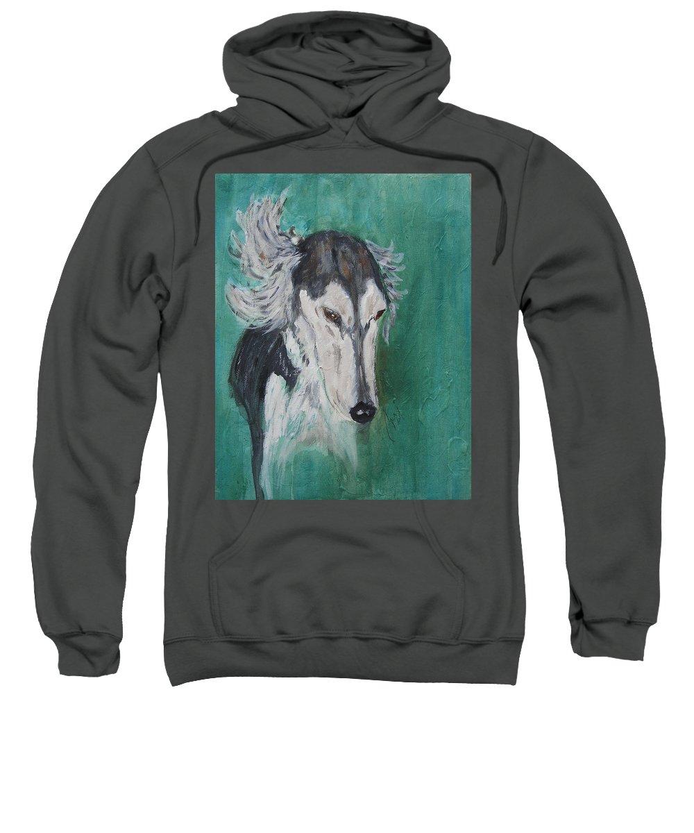 Saluki Sweatshirt featuring the painting Plato Found by Cori Solomon