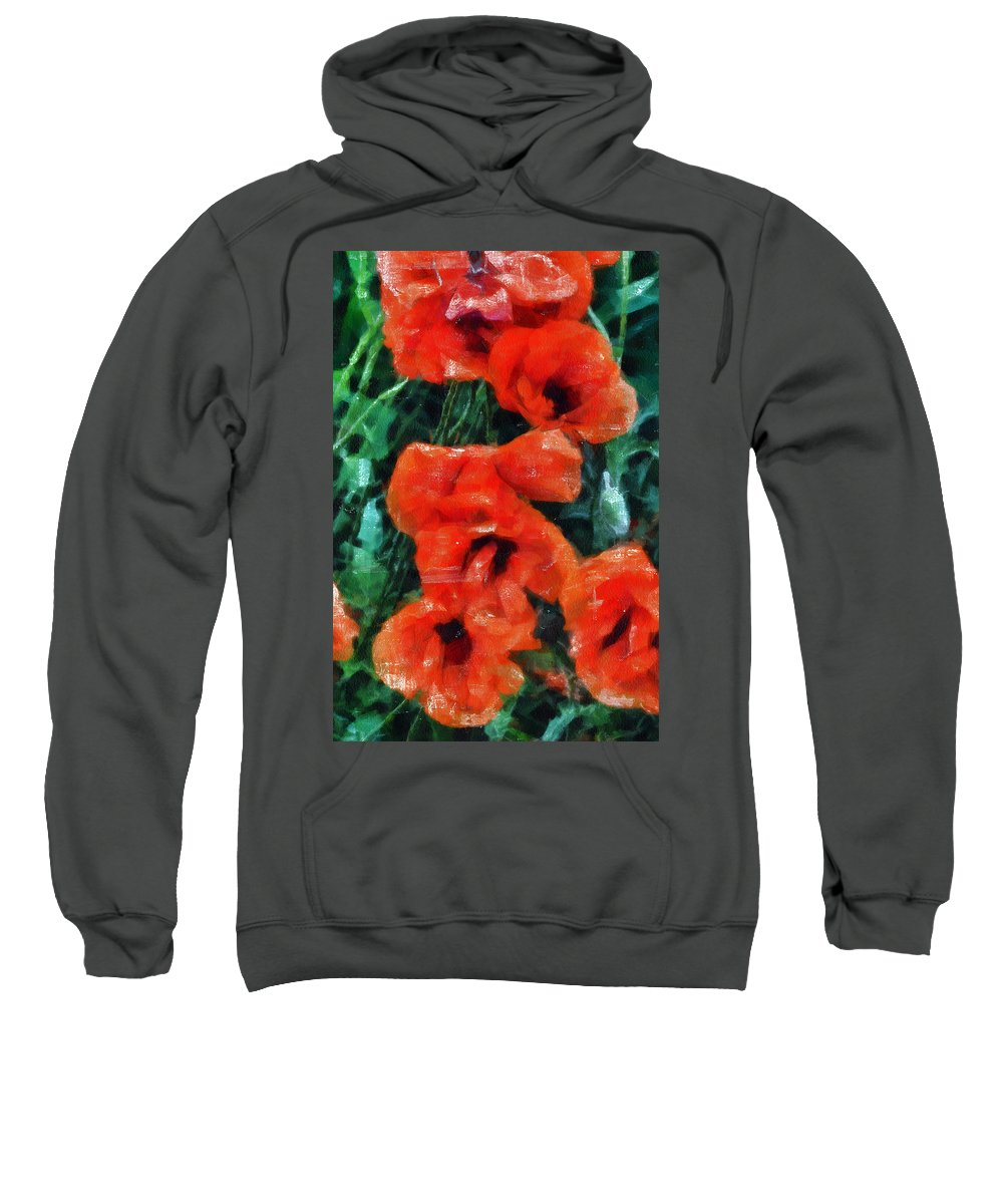 Poppy Sweatshirt featuring the mixed media Playful Poppies 5 by Angelina Vick