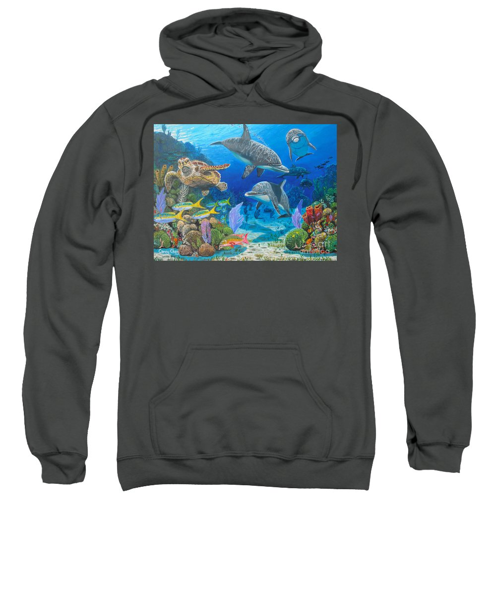 Porpoise Sweatshirt featuring the painting Playground Re004 by Carey Chen