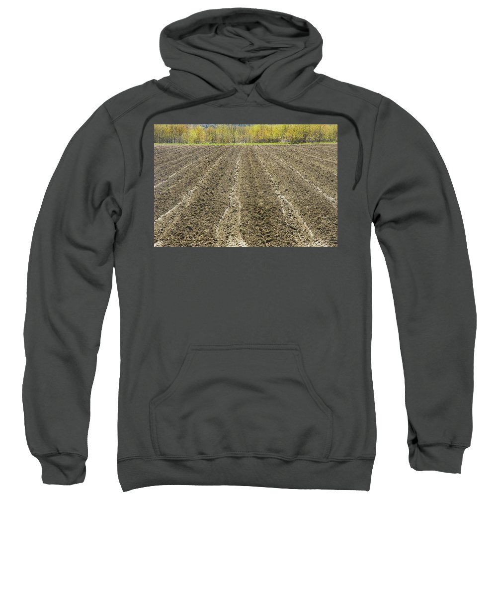 Field Sweatshirt featuring the photograph Plowed Spring Farmland Ready For Planting In Maine by Keith Webber Jr