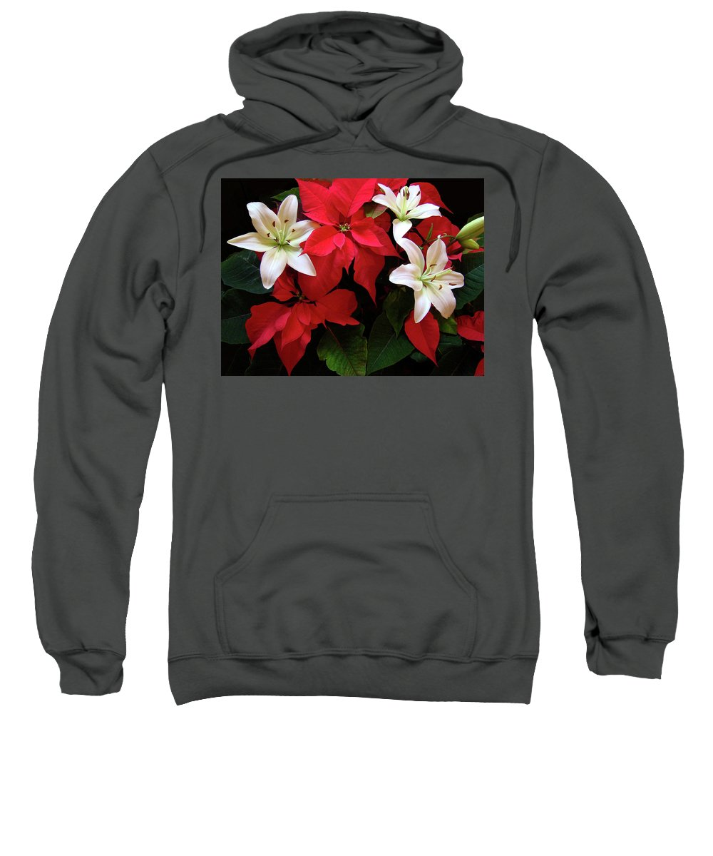 Holiday Sweatshirt featuring the photograph Poinsettia And Lilies by Sandy Keeton