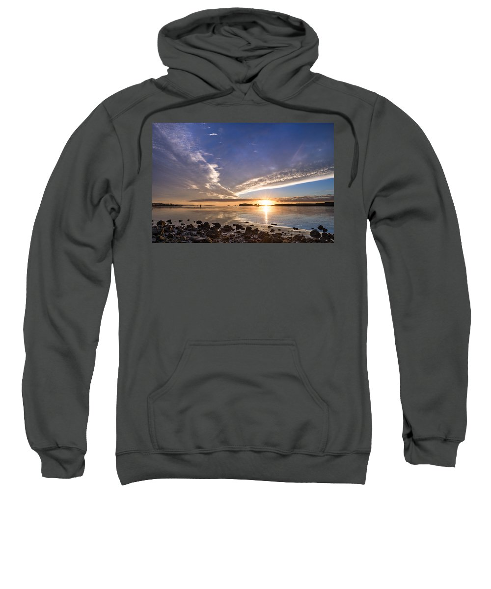Humboldt Bay Sweatshirt featuring the photograph Point Of The Sunset by Greg Nyquist