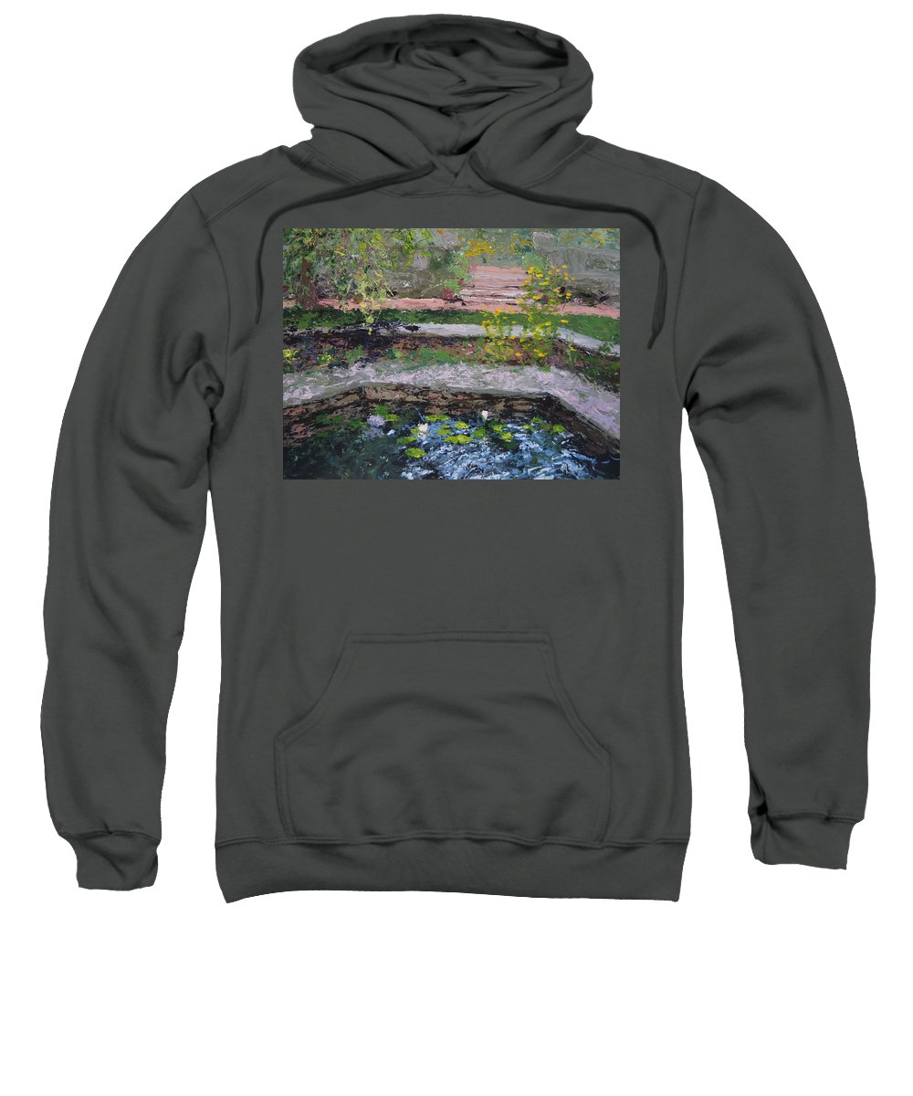 Chicago Botanic Gardens Sweatshirt featuring the painting Pond In The English Walled Gardens by Mary Haas