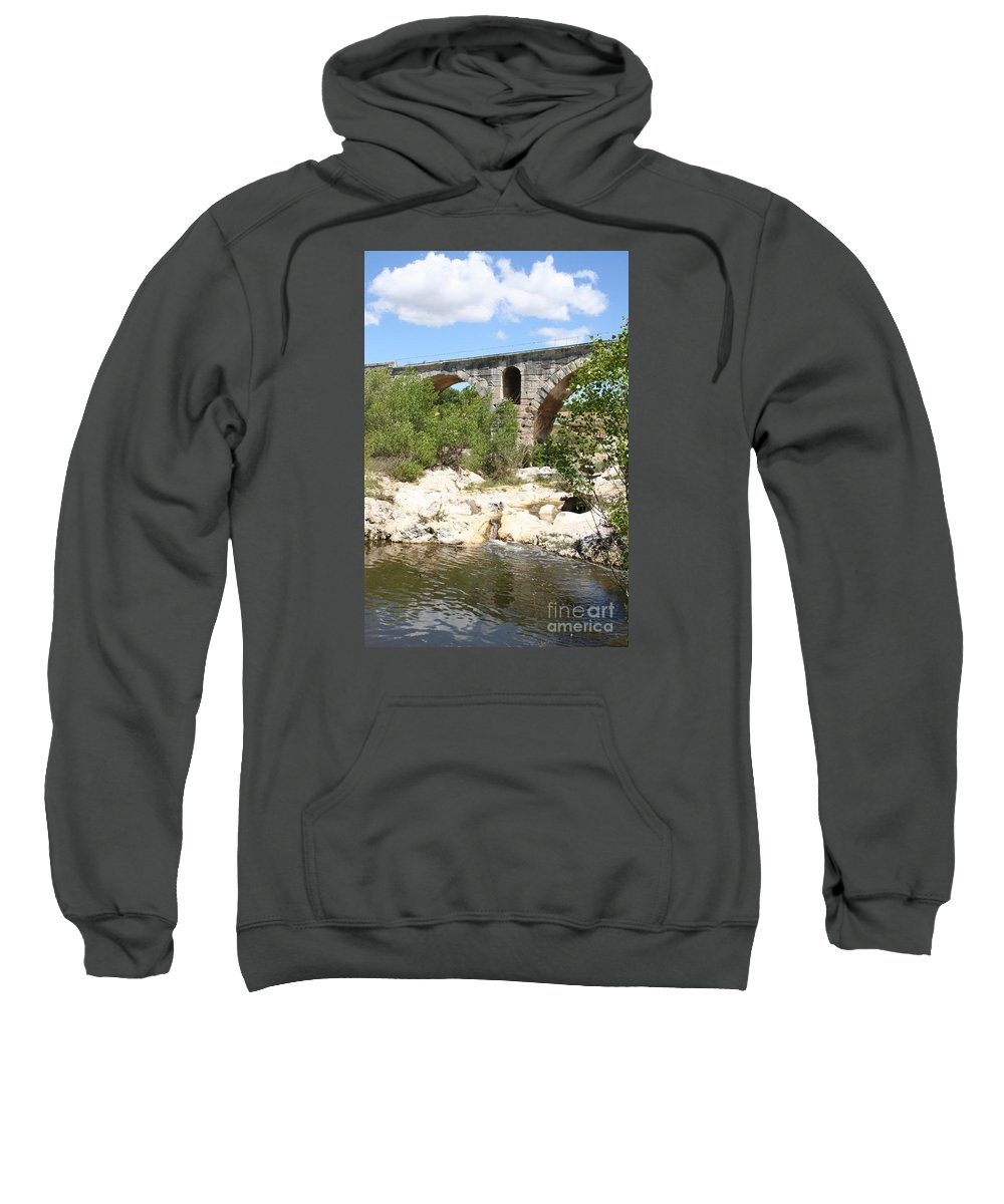 Roman Stonebridge Sweatshirt featuring the photograph Pont St. Julien And River by Christiane Schulze Art And Photography