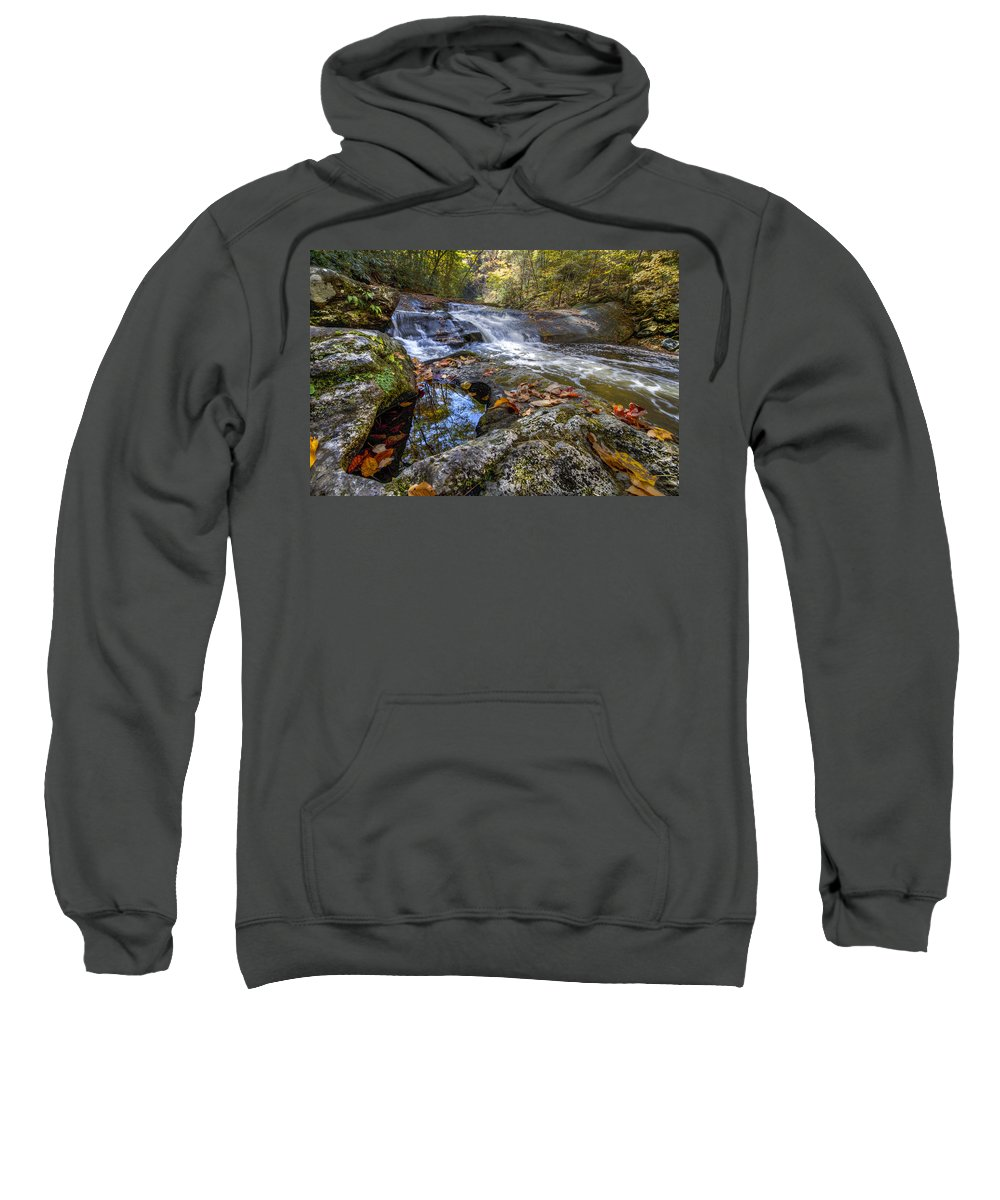 Appalachia Sweatshirt featuring the photograph Pool Reflections by Debra and Dave Vanderlaan