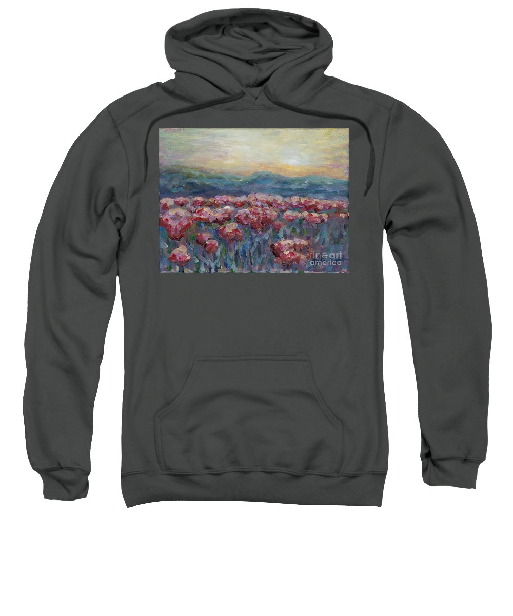 Poppies Sweatshirt featuring the painting Poppies at Sunset by Nadine Rippelmeyer