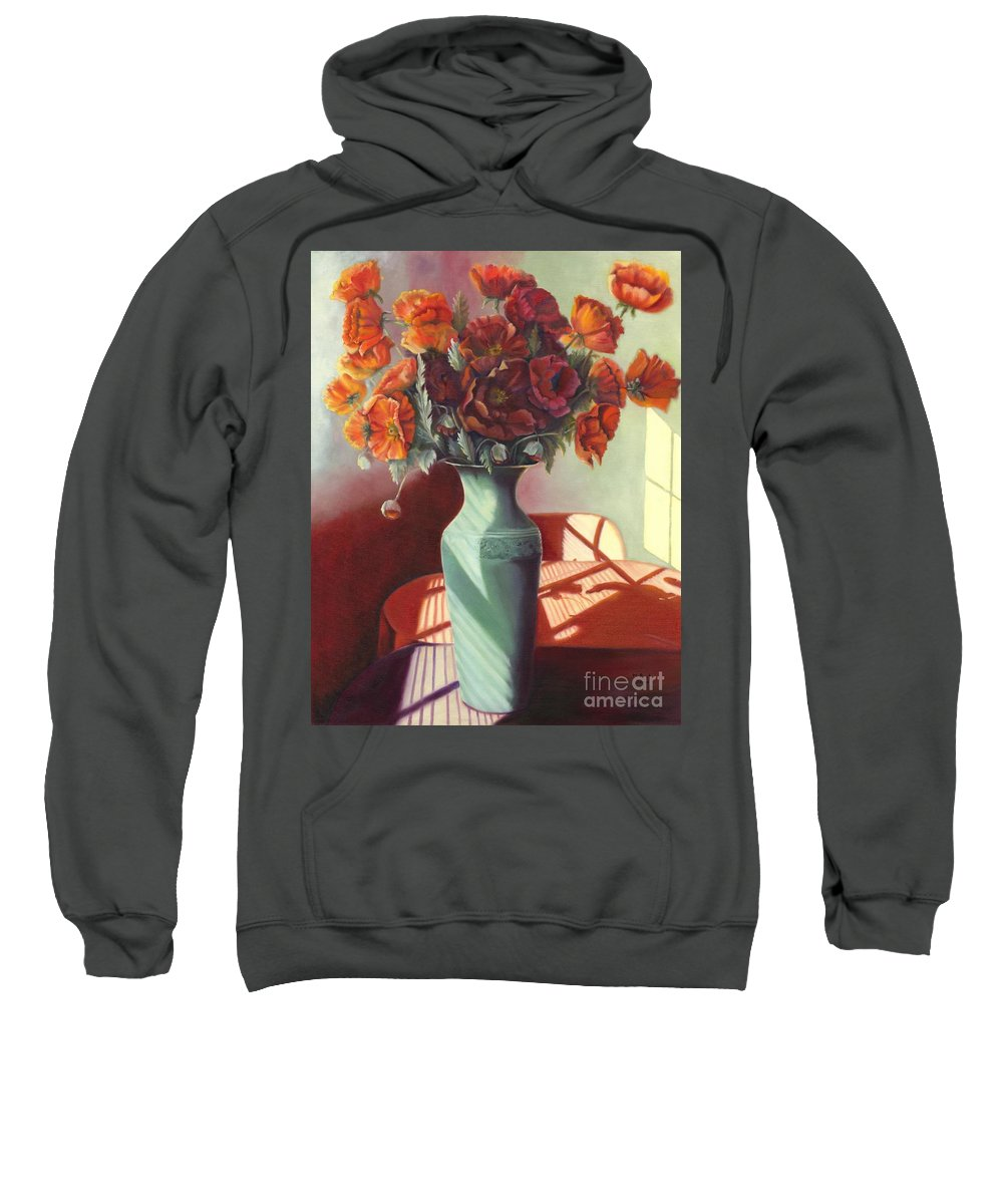 Still Life Sweatshirt featuring the painting Poppies by Marlene Book