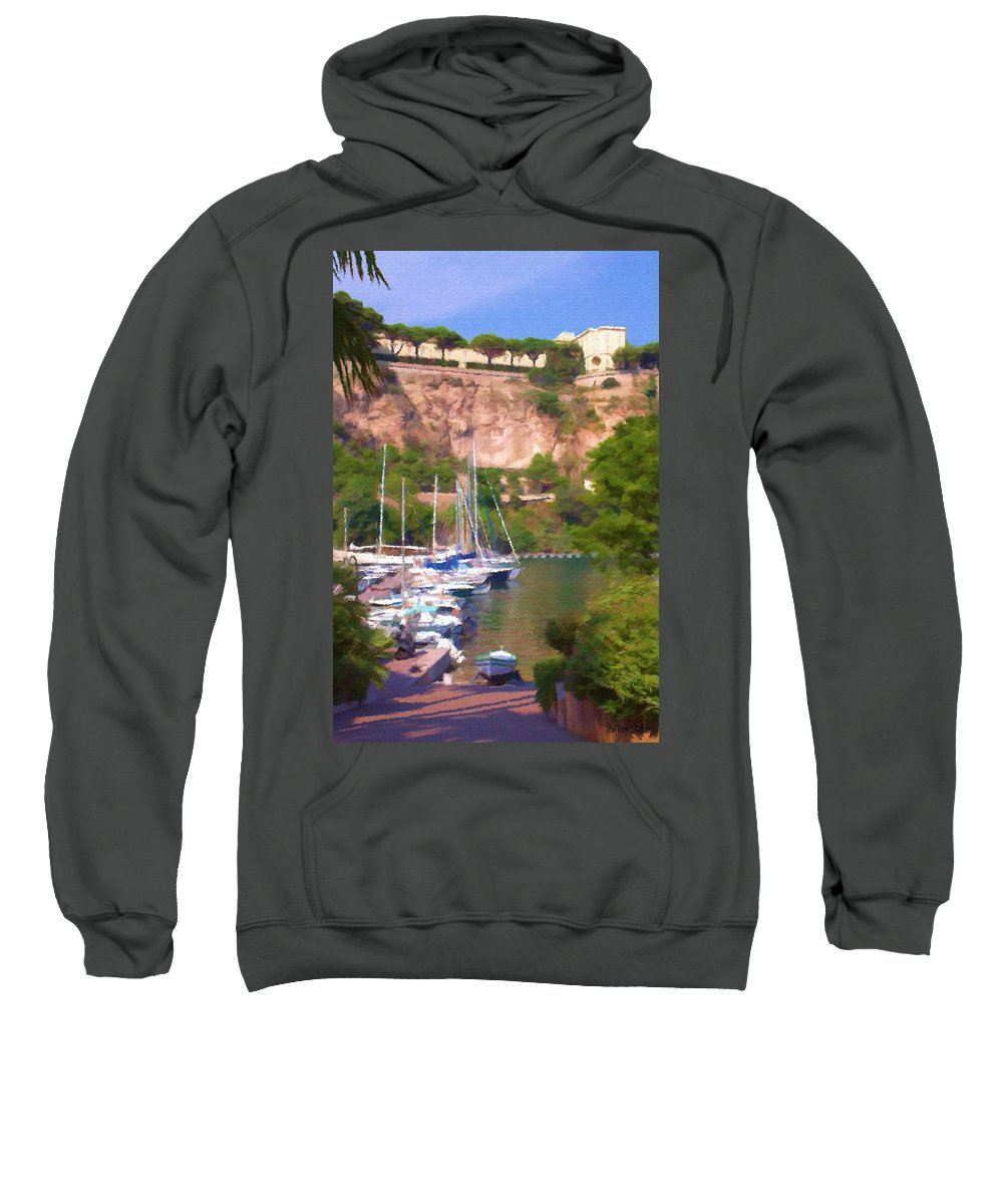Blue Sweatshirt featuring the painting Port And Palace by Jeffrey Kolker